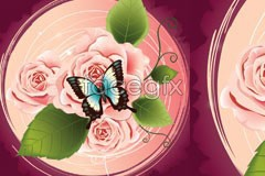 Link tovector pattern decorative butterfly roses Beautiful