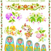 Link toBeautiful russian style ornaments design vector 02 free
