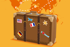 Beautiful travel box and map vector