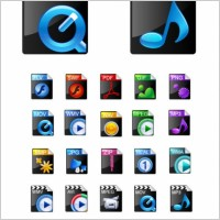 Link toBeautiful video formats commonly used icons vector