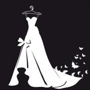 Link toBeautiful wedding dress silhouette design vector 05 free