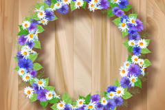Link toBeautiful wreaths wood background vector