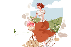 Link toBeautiful young woman cyclist vector