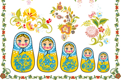 Link toBeautifully patterned with russia sets her vector