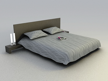 Link toBed bed soft and abstract 3d model of a modern wood simmons
