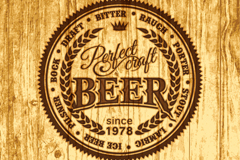 Link toBeer label wooden background vector