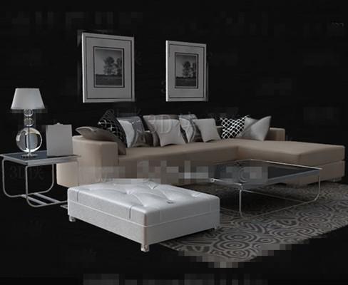 Link toBeige leather sofa tea table combination 3d model