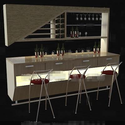 Link toBeige stylish wine cabinet 3d model