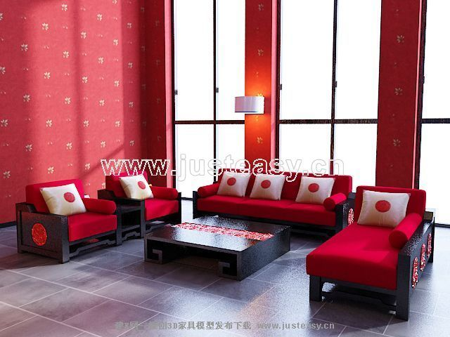 Link toBig red sofa combination of modern chinese 3d model