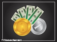 Bills and coins graphics vector free