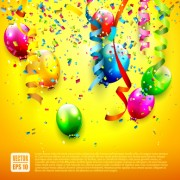 Link toBirthday colored balloons with colorful ribbon background vector 04 free