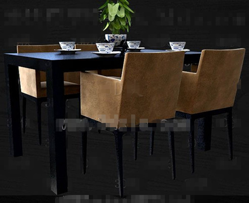 Link toBlack and brown-yellow four persons table 3d model