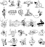 Link toBlack and white cartoon animals vector
