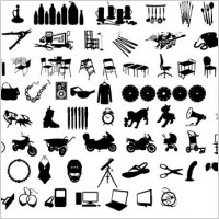 Link toBlack and white design elements vector series 12 items silhouette