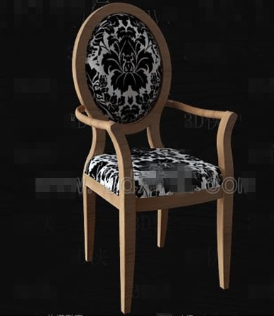 Link toBlack and white fabric wooden chair 3d model