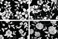 Link toBlack and white floral decorations background vector