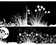 Link toBlack and white flowers, silhouette silhouette vector flowers and plants
