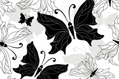 Link toBlack and white hand-painted butterflies vector