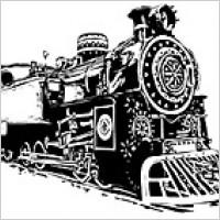 Link toBlack and white locomotive vec