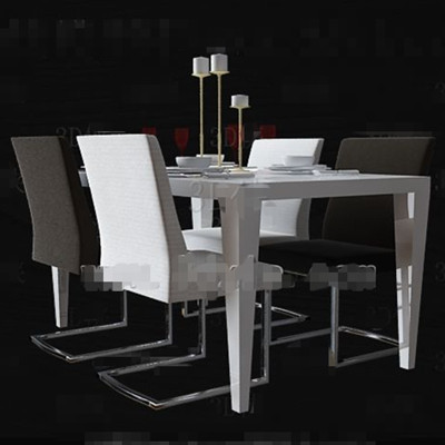 Link toBlack and white minimalist dining table 3d model