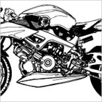 Link toBlack and white motorcycle vector material