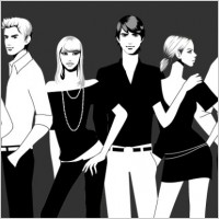 Link toBlack and white photographs of men and women vector fashion