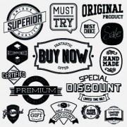 Link toBlack and white retro labels design vector 02