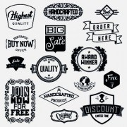 Link toBlack and white retro labels design vector 04