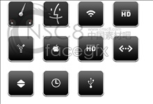 Black apple desktop icons