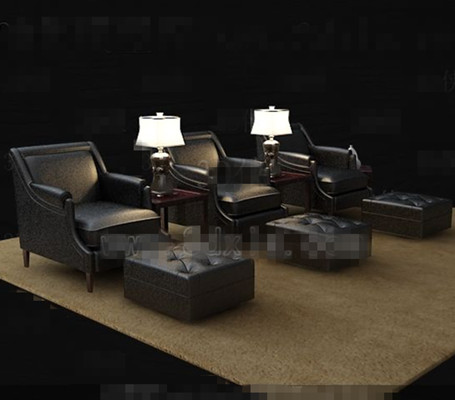 Link toBlack casual leather sofa combination 3d model