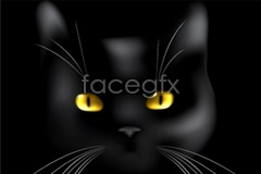 Link toBlack cat close-up head vector