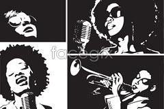 Link toillustration vector white and black singers female Black