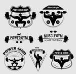 Link toBlack fitness element label vector
