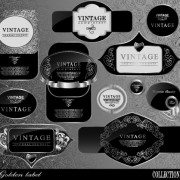 Link toBlack glass textured label vector set 01 free