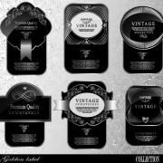 Link toBlack glass textured label vector set 02 free