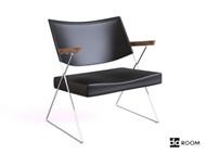 Link toBlack leather wooden armchair 3d model