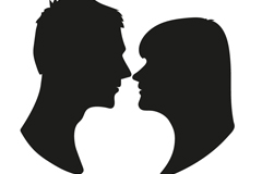 Link toBlack looking couple portrait silhouettes vector