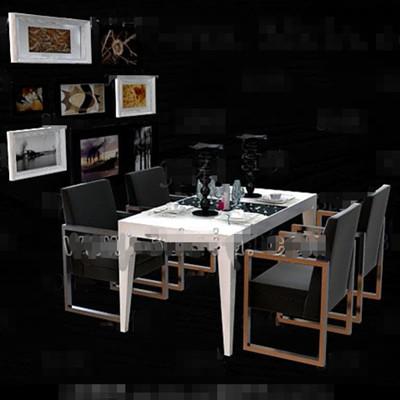 Link toBlack metal frame dining table combination 3d model