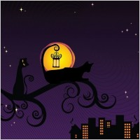 Link toBlack silhouette of cat at night vector illustration