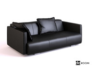 Link toBlack soft leather three seats sofa 3d model