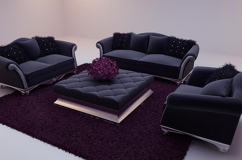 Black Soft Sofa 3d Model Including Materials