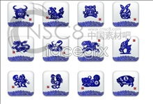 Link toBlue-and-white 12 zodiac signs icons