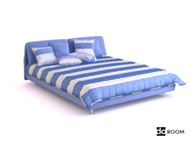 Link toBlue and white striped double bed 3d model