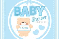 Link toBlue baby party card vector