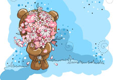 Link toBlue bouquet xiong bao vector illustration
