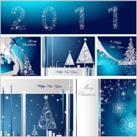 Link toBlue christmas postcard template vector