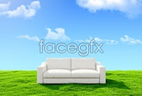 Blue couch lawn high definition pictures