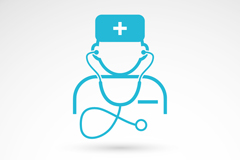 Link toBlue doctor logo icon vector