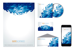 Blue geometric enterprise vi design vector