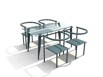 Link toBlue glass 3d model of elegant dining tables and chairs